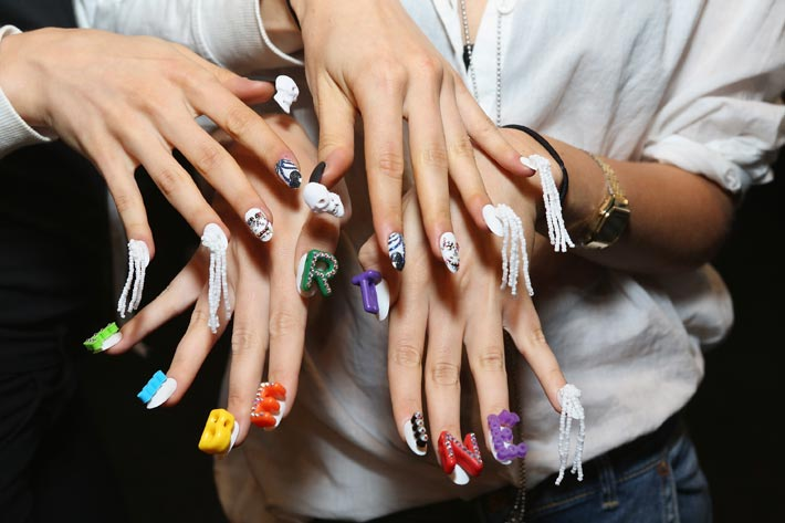 Nail art in sculptural punk graffiti style at libertine ss2015 nail art by cnd california based company creative nail design for libertine springsummer 2015 on 8 september 2014 during fashion week in new york city prinsesfo Choice Image